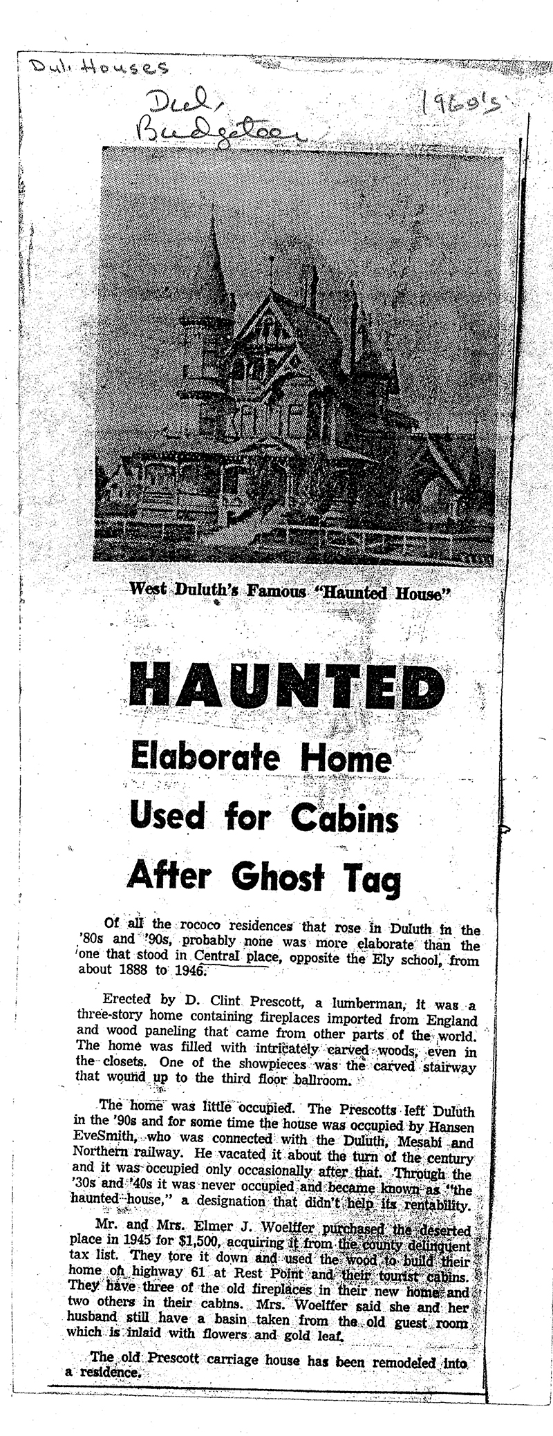 Haunted West Duluth Home - News Article