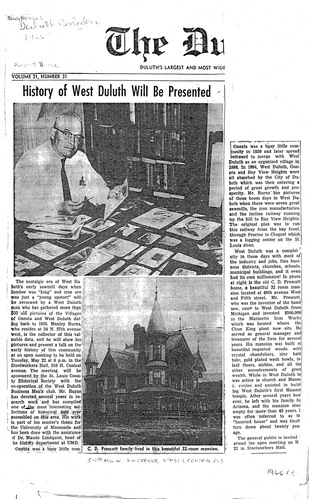 History of West Duluth - News article